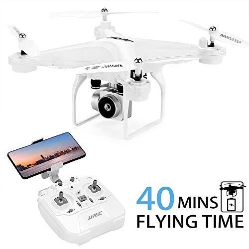 40 (20 + 20) minutos de vuelo largo Drone JJRC JJPRO H68 RC Quadcopter con cámara 720P FPV WiFi Helicopter con 2 baterías Altitude Hold, Modo sin cabeza, Control de aplicaciones Best Drone (Blanco)