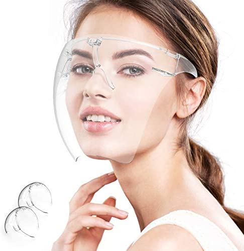 Face Shield 2 Pack Clear Safety Face Shields with Glasses Frame Adjustable Transparent Full product image