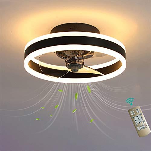 YAOXI Dormitorio Led Ventilador de Techo Pequeño con Luz y Mando Silencioso Reversible 6 Velocidades Moderno Ventilador con Luz de Techo con Temporizador Regulable,Negro
