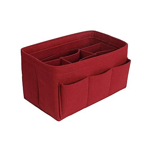 Sacs à cosmétiques Femmes Mode Feutre Tissu Sac intérieur s'adapte à insérer Sac à Main Multi-Poches de Stockage-Rouge_26 * 15 * 14 cm