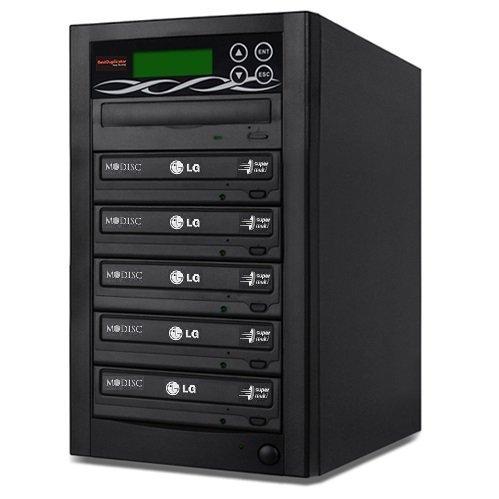 BestDuplicator 5 Target (1 to 5) 24X SATA DVD Duplicator Built-in LG Burner DVD Burner (128MB Buffer) + Free Nero 10 Multimedia Suite Essentials CD/DVD Burner Software - Professional DVD CD Duplication Copier Machine