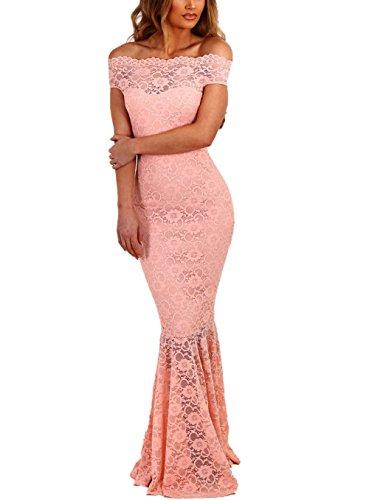 Z-one Damen 1950er Retro Fishtail Büro Cocktail Kleid Meerjungfrau Aus Schulter Spitze Maxi Kleider (M, Pink)