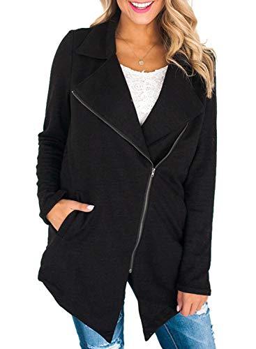 BLENCOT Women's Winter Lightweight Lapel Wrap Zip Up Asymmetrical Jackets Pockets Casual Open Front Coat Outwear Black Medium