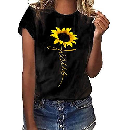 Tshirt Damen Kurzarm Sommer Oberteile Oversize Elegant 3D Sonnenblume lose Rundhals Damen Mode blusen Basic Shirt Pullover Sweatshirt Teenager Mädchen Lässige Hemd Tunika Tops