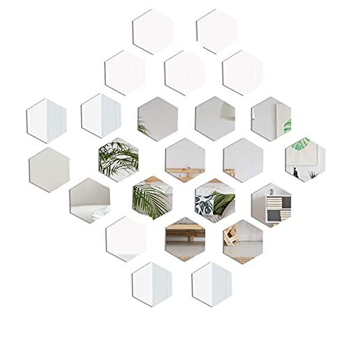 ZEACCT 24 Piezas Pegatinas de Pared Espejo Hexagonal,Acrílico Adhesivo 3D Decorativo De Bricolaje Espejo para La DecoracióN de La Pared Sala de Estar Dormitorio Familiar,Sofá,Oficina(Plata)