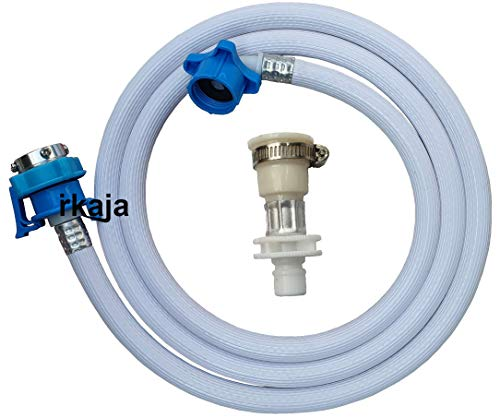 Irkaja 3 Meter Flexible PVC Washing Machine Water Inlet/Inflow Hose Pipe with 2 Type Tap Adapters/Connectors for Front & Top Load Fully Automatic Washing Machines (3 Meter)