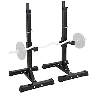F2C Max Load 550Lbs Pair of Adjustable 40″-66″ Rack Sturdy Steel Squat Barbell Free Bench Press Stands Gym/Home Gym Portable Dumbbell Racks Stands (one Pair/Two pcs)