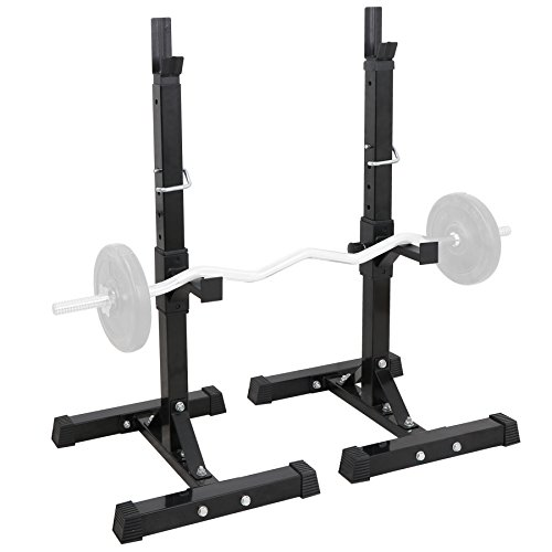 "F2C Max Load 550Lbs Pair of Adjustable 41""-66"" Rack Sturdy Steel Squat Barbell Free Bench Press Stands Gym/Home Gym Portable Dumbbell Racks Stands (one Pair/Two pcs)"