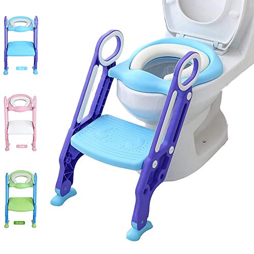 Potty Training Toilet Seat with Step Stool Ladder Adjustable Toilet Training Seat with Soft Anti-Cold Padded Seat Safe Handles and Non-Slip Wide Steps, Purple and Blue