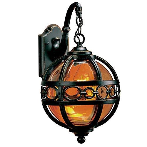 QIULAO Lampada da esterno vintage Lampada da parete for esterno rotonda nera rustica Impermeabile IP54 Lampada da esterno in alluminio e vetro Retro E27 Lampada da giardino rustica Lampada da giardino