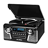 Bring retro style and a versatile audio experience to your home with this Victrola 50's Retro Record Player. This Victrola Stereo comes in a cool retro design and is capable of playing AM/FM radio, CD's, wireless music, and vinyl records.
