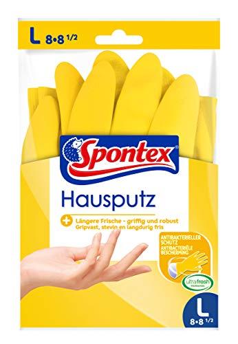 Spontex Hausputz Handschuhe, für alle Putz- und Pflegearbeiten im Haushalt, griffig und robust, innen mit Baumwollbeflockung, Größe L (10 x 1 Paar)
