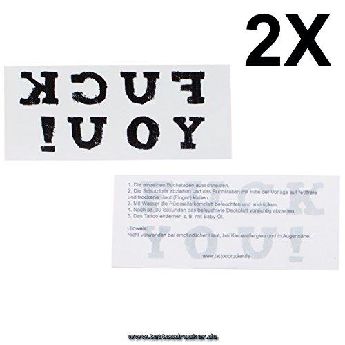 """2 x Schriftzug\""""FUCK YOU\"""" als Tattoo für Finger - Gangster Tattoo (2)"""