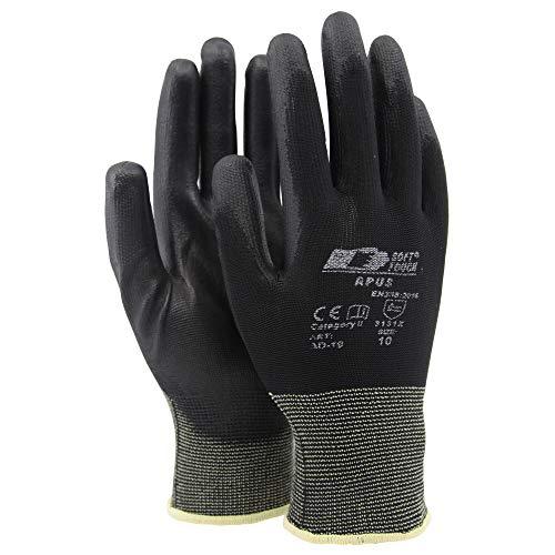 Soft Touch Apus Arbeitshandschuhe Gestrickte Handschuhe Schwarz - Dünne Montagehandschuhe - 10 / XL - 12 Paar