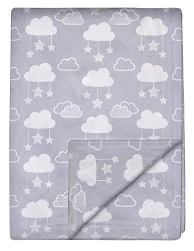 """Minky Baby Blanket 30"""" x 40"""" - Stars and Clouds - Soft Swaddle Blanket for Newborns and Toddlers - Best for Boys or Girls Crib Bedding, Nursery - Plush Double Layer Fleece Fabric"""