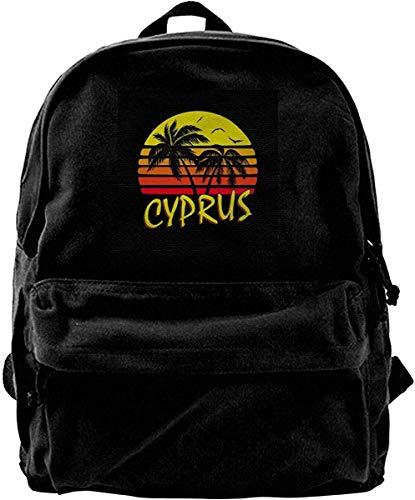 Yuanmeiju Canvas Backpack Cyprus Vintage Sun Rucksack Gym Hiking Laptop Shoulder Bag Daypack for Men Women