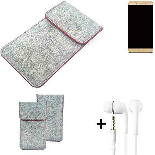 K-S-Trade Handy Schutz Hülle Für Allview X4 Soul Lite Schutzhülle Handyhülle Filztasche Pouch Tasche Hülle Sleeve Filzhülle Hellgrau Roter Rand + Kopfhörer