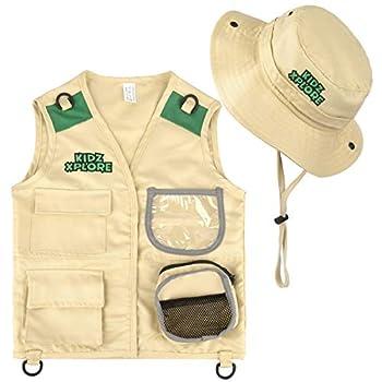Kidz Xplore Outdoor Adventure Kit for Young Kids - Cargo Vest and Hat Set Backyard Explorer Safari Costume and Dress Up for Park Ranger Paleontologist Zoo Keeper Kid and Scavenger Hunt  brown