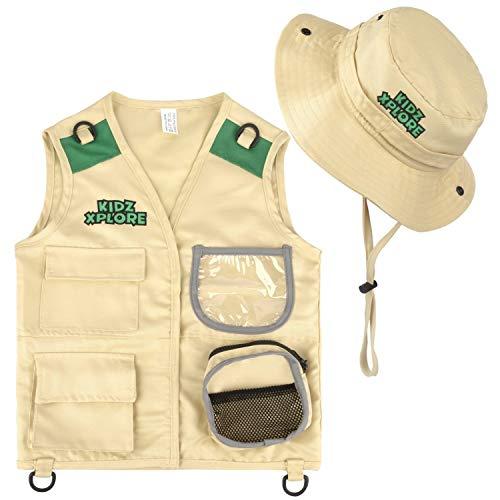 Kidz Xplore Outdoor Adventure Kit for Young Kids - Cargo Vest and Hat Set Backyard Explorer Safari Costume and Dress Up for Park Ranger, Paleontologist, Zoo Keeper Kid and Scavenger Hunt (brown)