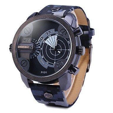 Fashion Watches Schöne Uhren, Männerdoppelbewegung Radar Uhren militärische Tarnung Lederarmbanduhr (Farbe : Weiß, Großauswahl : Einheitsgröße)