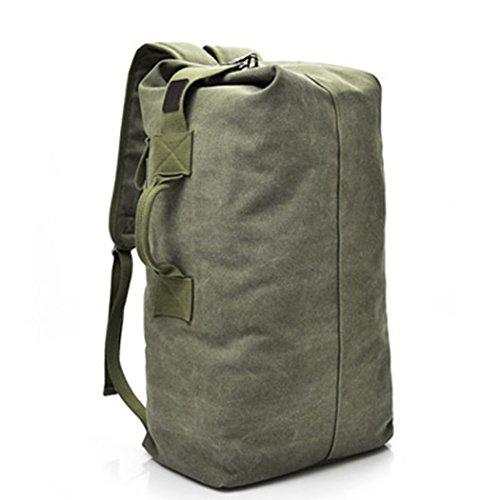 Zaino a mano da viaggio, borsa a tracolla da viaggio, in tela, da uomo, Army Green, L