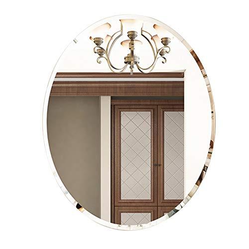 Espejo De Pared para Baño, Espejo De Maquillaje Ovalado, Espejo Decorativo, Diseño Simple Y Elegante, Sin Marco con Bordes Biselados, Lente De Vidrio De Alta Definición Segura A Prueba De Explosione
