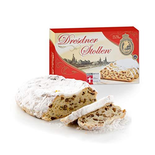 Original Dresdner Christstollen - 500g - inkl. Geschenkkarton - Ausgezeichnete Premium Qualität - Frischer & Saftiger Weihnachtsstollen