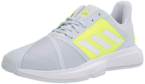 adidas Women's Courtjam Bounce Tennis Shoe, Halo Blue/White/Solar Yellow, 10.5