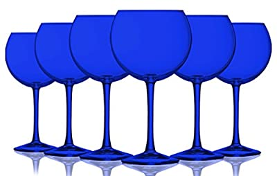 Cobalt Blue Colored Balloon Glasses - 20 oz. set of 6- Additional Vibrant Colors Available