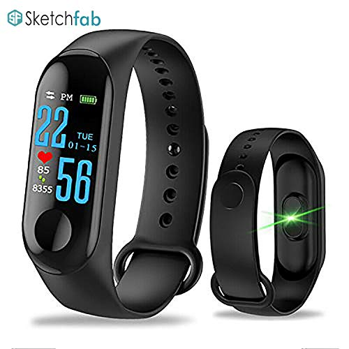 Sketchfab Plastic Fitness Activity Tracker with Heart Rate Sensor, Blood Pressure Monitor, Steps/Calorie Count, Smartwatch with Waterproof Body (Black)