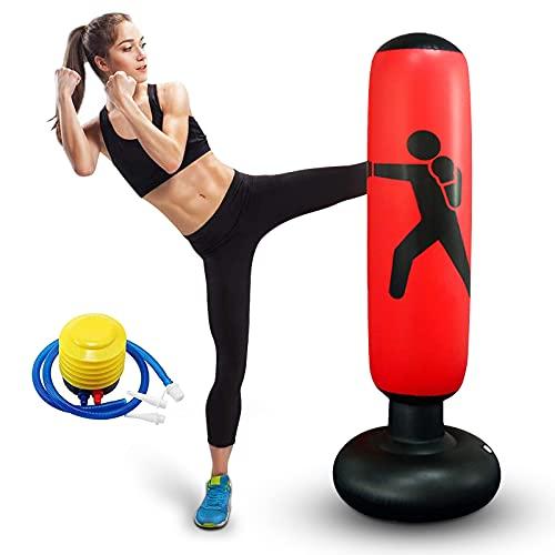 Standboxsack für Kinder und Erwachsene,Boxsack Boxing Bag Tumbler Trainingssack mit Luftpumpe,Zum Üben von MMA Karate Taekwondo für Training und Stressabbau (rot)