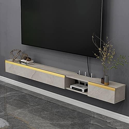 SjYsXm-car cover Mueble de TV Flotante, Consola Multimedia montada en la Pared, Estante de Almacenamiento de Entretenimiento, Estante de componentes, Soporte de TV Colgante con 2 Puertas de gabinete