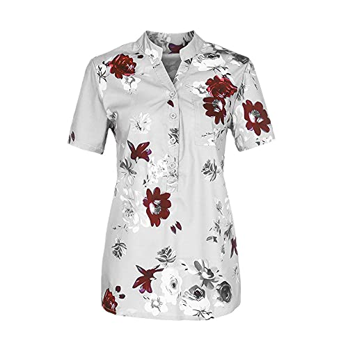 NP Zomer dames plus size blouse korte mouwen shirt - wit - XL