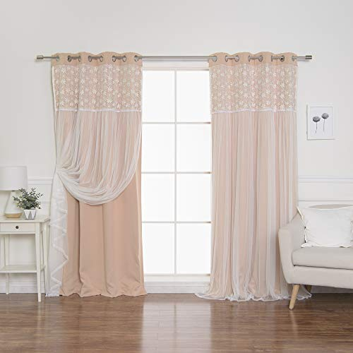 "Best Home Fashion Floral Lace Overlay Thermal Insulated Blackout Curtains - Stainless Steel Nickel Grommet Top - Indiepink - 52"" W x 84"" L - (Set of 2 Panels)"