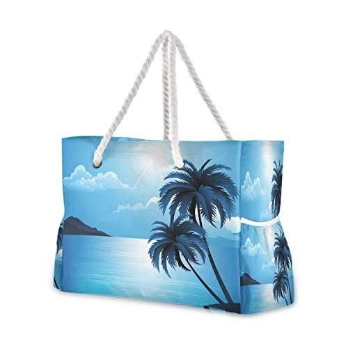 Bolsas de playa grandes Totes de lona Bolsa de hombro Verano Playa con Palmeras Resistente al Agua Bolsas para Gimnasio Viajes Diarios