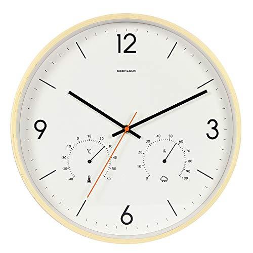HAHALE Stille Wanduhr, 14 in Holz Uhr mit Thermometer und Hygrometer-Display, batteriebetriebene Stiller Bewegung, für das Studium Büro Schlafzimmer Wohnzimmer Küche,Wood Color