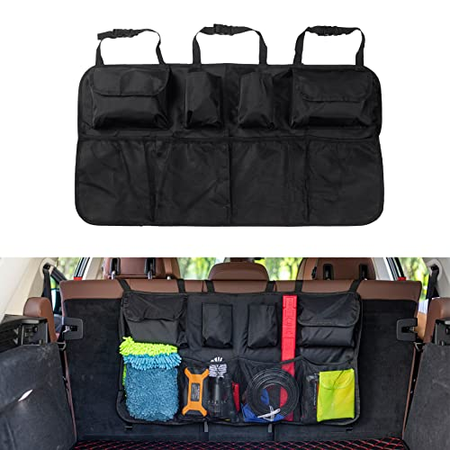 JUSTTOP Car Organizer Backseat Car Storage for SUV Trunk, Car Trunk Tidy Storage Bag with Lids