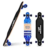 Windrunner 41 inch Freeride Longboard Skateboard,8-Ply Natural Maple Drop Through Freestyle Complete Skateboard Cruiser Pintail for Cruising,Carving,Free-Style and Downhill with T-Tool,Blue