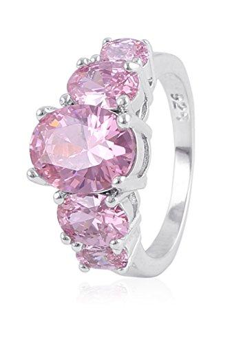Fasherati rosa cristallo placcato rodio anello per ragazze