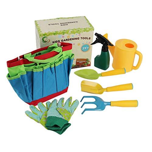 Herramientas de Jardinería de Juguete - Kit de herramientas de jardinería para niños con guantes de jardinería, pala de aspersión, Regalos para Chico Chica Mayores de 3 años