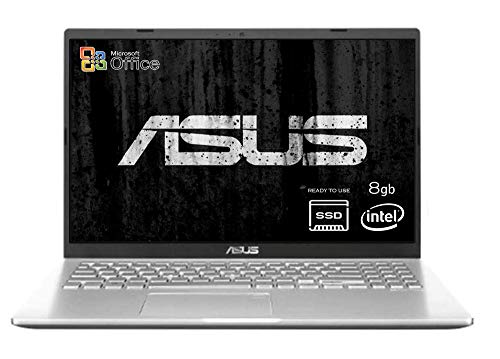 Asus Vivobook slim Silver, Cpu Intel N4020 fino a 2,8 GHz, SSD PCI NVME da 256Gb, RAM 8Gb DDR4, Display da 15,6 HD, wi-fi, 3 Usb, Bt, Win 10 pro, Office 2019, Pronto All'uso Garanzia Italia