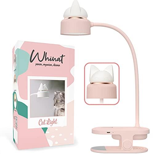 CLIP - Lámpara flexible y lámpara de noche, LED y recargable por USB, con pinza para el escritorio, taller, cama o mesita de noche, color rosa