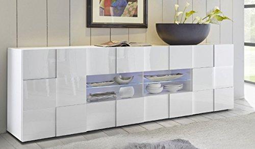 Arredocasagmb.it Mobile Contenitore 2 Ante 4 cassetti Moderno Bianco Lucido Soggiorno Madia Buffet con sportelli Design Dame 08