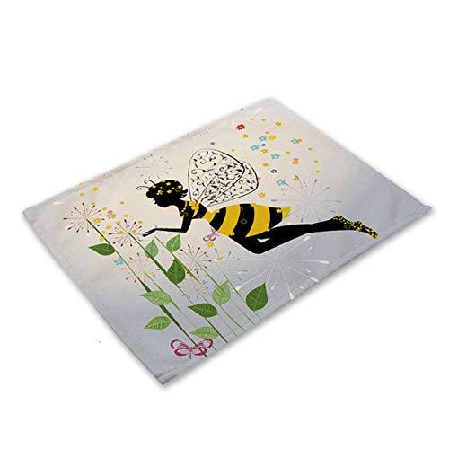 Bloem vlinder meisje katoen linnen Pad patroon keuken Placemat kom Cup Mat eettafel matten Coaster 42 * 32cm Home Decor PM0043, PM0043-17
