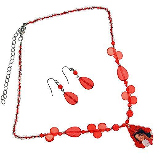 High School Musical rote Perlen 45,72 cm / 55,88 cm Halskette und Ohrringe
