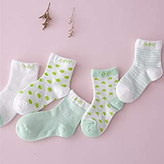 Socks 5 Pairs Cute Cartoon Socks Infant Toddler Soft Cotton Comfortable Ankle Socks, Size:S(Khaki) Outdoor & Sports (Color : Green)