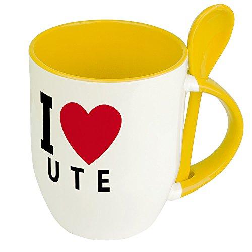 Namenstasse Ute - Löffel-Tasse mit Namens-Motiv