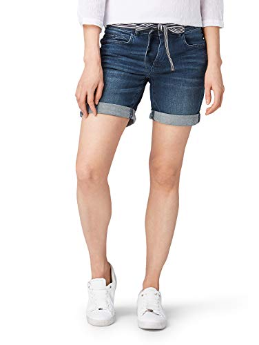 TOM TAILOR Damen Alexa Bermuda Shorts, Blau (Dark Stone Bright Bl 10153), 33