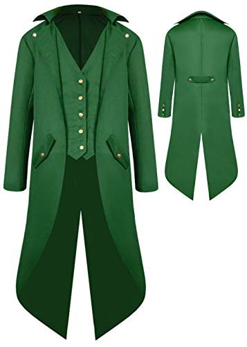 Boys Medieval Tailcoat Jacket Halloween Costumes, Gothic Steampunk Vintage Victorian Frock High Collar Uniform Coat(Green,Medium(US8-10))