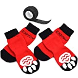 EXPAWLORER Dog Socks Traction Control Anti-Slip for Hardwood Floor Indoor Wear, Paw Protection Red (Medium, Red)